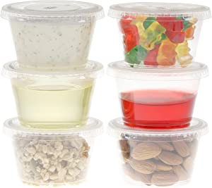 Freshware Plastic Portion Cups with Lids [4 Ounce, 100 Sets] Souffle Cups, Jello Shot Cups, Condiment Sauce Containers For Sampling, Sauce, Snack or Dressing