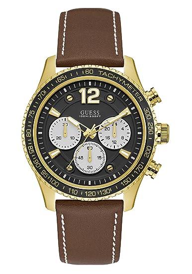 Guess Reloj Cronógrafo para Hombre de Cuarzo con Correa en Cuero W0970G2: Amazon.es: Relojes