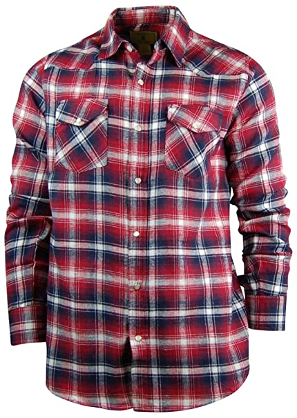 a4203129 Men's Classic Plaid Flannel Shirt | Lightweigh Cotton Flannel | Easy Open  Snap Front (X-Large, Dark Red) at Amazon Men's Clothing store: