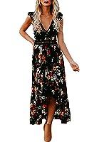 Nulibennas Womens Floral Print Maxi Dress Boho V Neck Summer Asymmetrical Beach Dress