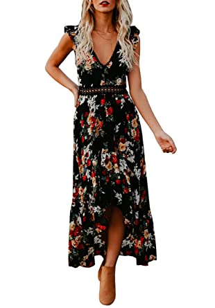 dba49c306032 Bbalizko Womens Sleeveless Long Party Dress Floral Print Embroidered  High-Low Hem Maxi Dress Black