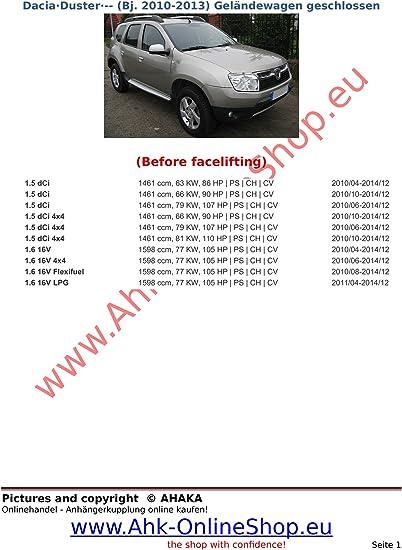 Ahk Anhängerkupplung Mit Elektrosatz 7 Polig Für Dacia Duster De 2010 2013 Anhängevorrichtung Hängevorrichtung Starr Mit Angeschraubtem Kugelkopf Auto