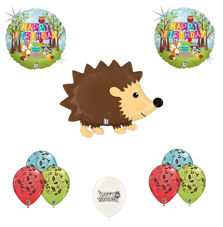 11 pc Woodland Hedgehog Happy Birthday Animals Balloon Bouquet Party Decoration