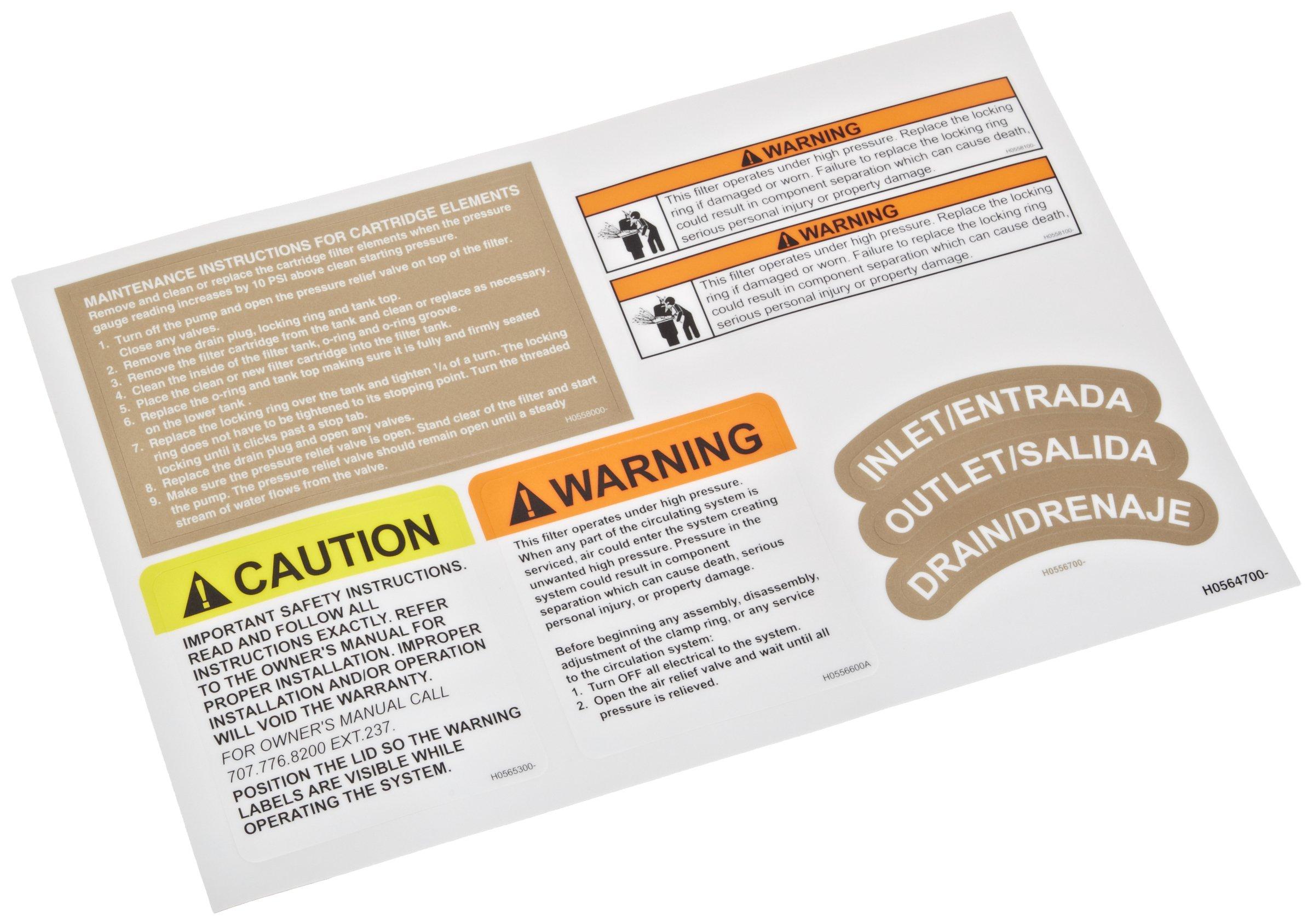 Zodiac R0560600 Safety Label Replacement Kit for Select Zodiac Jandy CJ Series Cartridge Filters