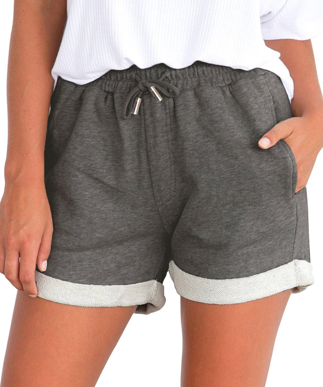 Tengo Women Summer Beach Shorts Juniors Folded Hem Shorts with Drawstring(Darkgrey,L)