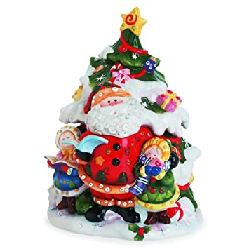 Amazon.com: Singing Santa Collection, Tree Cookie Jar: Kitchen ...