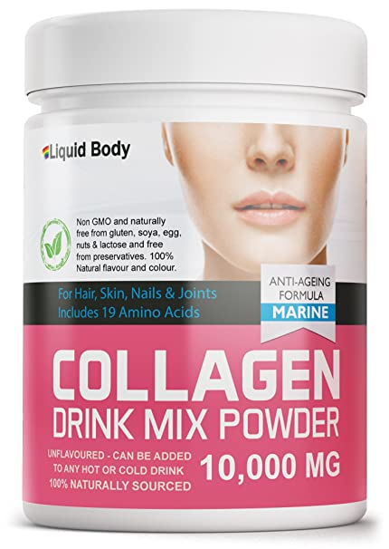 Líquido Cuerpo Hidrolizado Colágeno Marino Bebida Mix Polvo Enriquecido con 19 Aminoácidos 300 g Soporte Piel