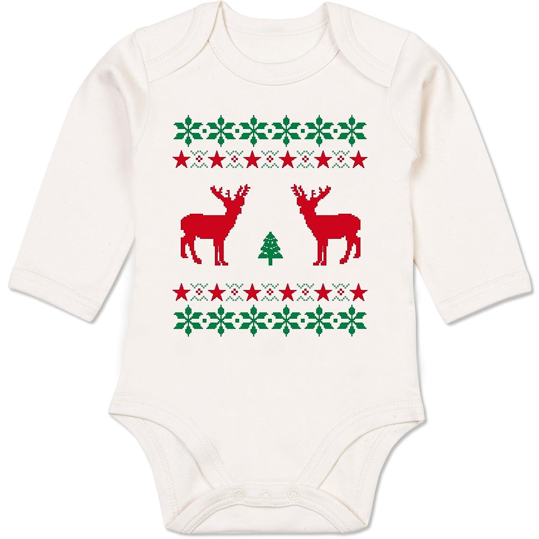Weihnachten Baby - Norweger Pixel Rentier Weihnachten - Baby Strampler aus organischer Baumwolle für Mädchen und Jungen