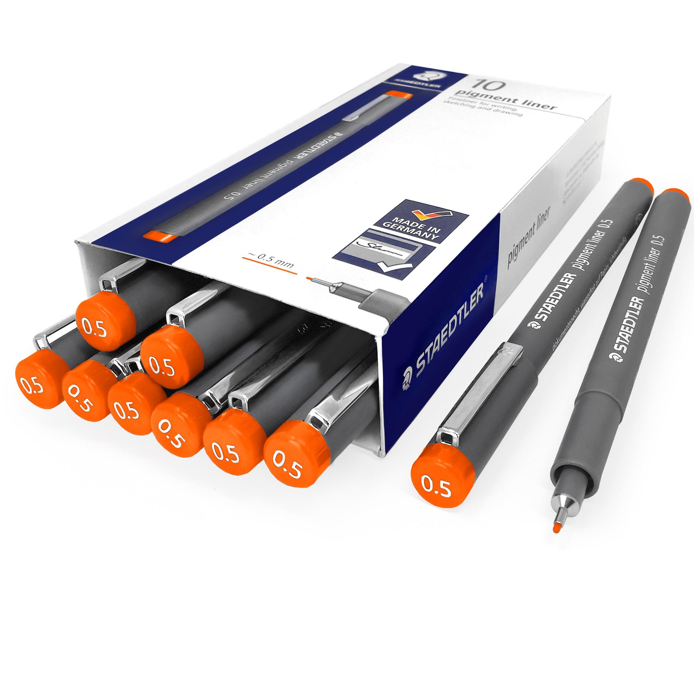 Staedtler 308 Pigment Liner Fineliner - 0.5mm - Pack of 10 - Orange