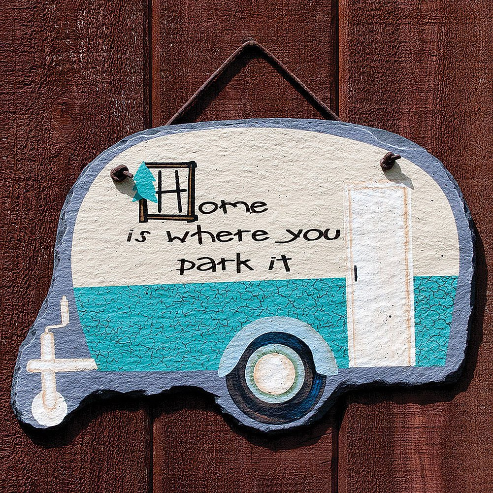 Amazon Teardrop Camper Humorous Sign Home Is Where You Park It Slate Wall Plaque Kitchen