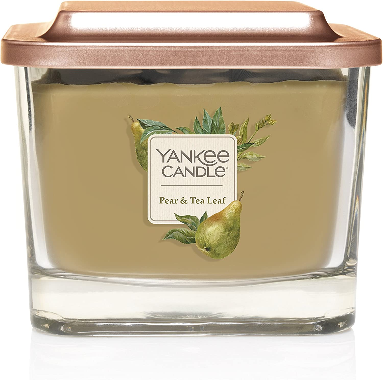 Yankee Candle Company Elevation Collection with Platform Lid, Medium 3-Wick Candle, Pear & Tea Leaf