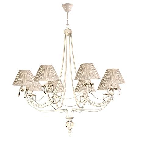 Lámpara de techo de 6 luces acabado beige con pantallas de ...