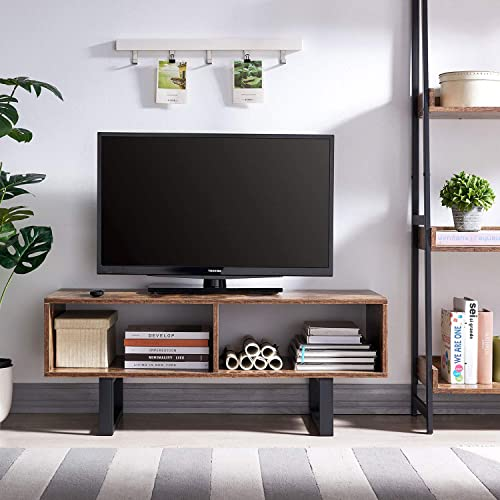 AMOAK Industrial TV Stand with Storage Shelf for Living Room, TV Console Storage Cabinet, Retro Coffee Table Easy Assembly, Retro Brown