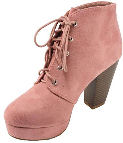 d16b3cf6e34 Forever Women's Camille-86 Faux Suede Lace-up Almond Toe Chunky High Heel  Platform Ankle Booties