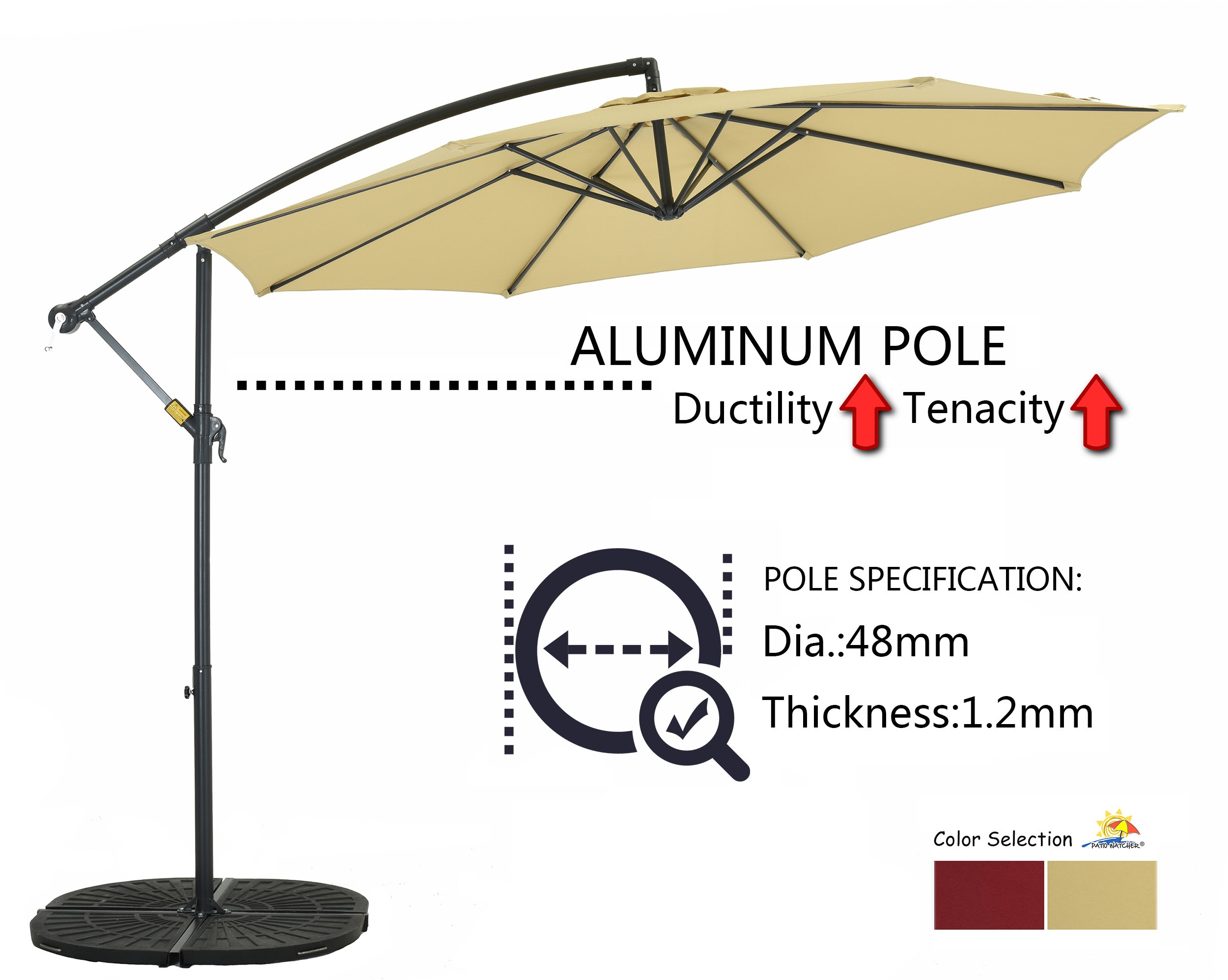 Patio Watcher 10 Ft Market Offset Umbrella, Cantilever aluminum Umbrella with Crank, UV Resistant, Water resistant PU, Coated Polyester, Air Vented Top, Beige