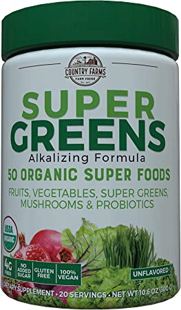 Country Farms Super Green Drink Mix, Natural, 10.6 Ounce (Packaging may vary)