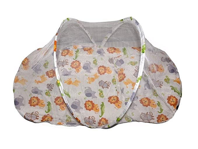 Baby Bucket Mosquito Net with Bed and Baby Pillow (Off White Animal)