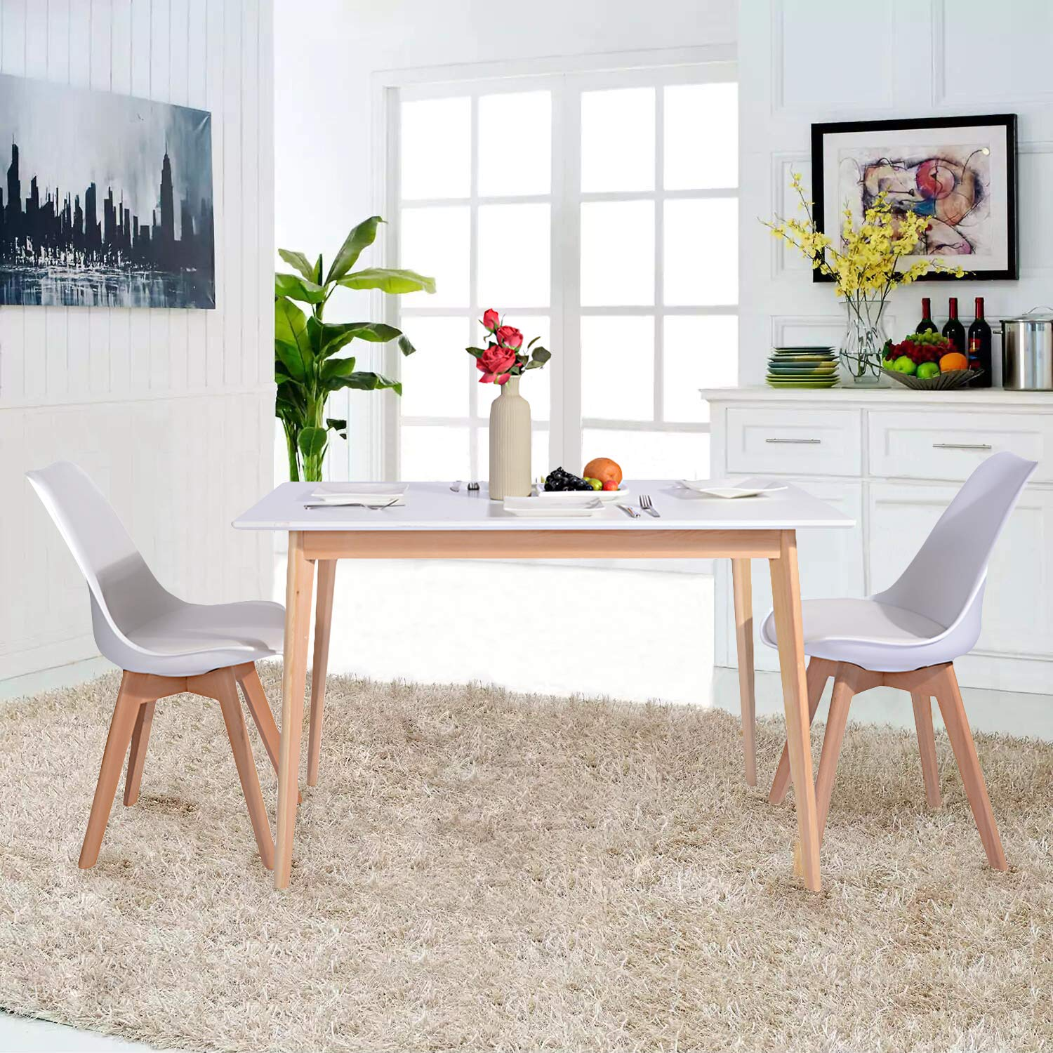 GreenForest Dining Table Mid Century Modern Rectangular Kitchen Leisure Table with Solid Wooden Legs 47.2'' x 27.6''x 30'', White by GreenForest (Image #7)