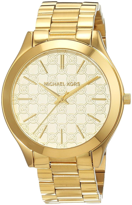8aed609ca3fb Michael Kors Women s MK3335 Slim Runway MK Logo Gold-Tone Stainless Steel  Watch