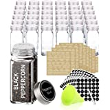 SWOMMOLY 36 Glass Spice Jars with 713 Spice Labels, Chalk Marker and Funnel Complete Set. 36 Square Glass Jars 4 OZ, Airtight