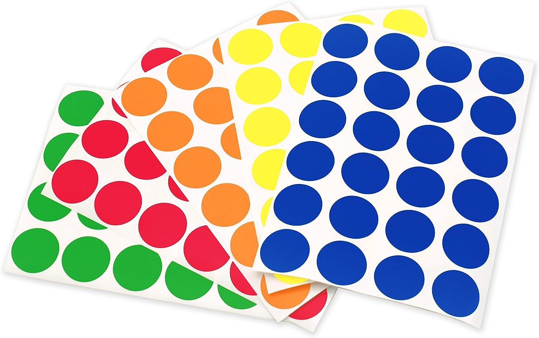 1/200/Stickers//Lot 3//4 standard 3//10,2/cm assortis onglet Dot /étiquettes sur feuilles