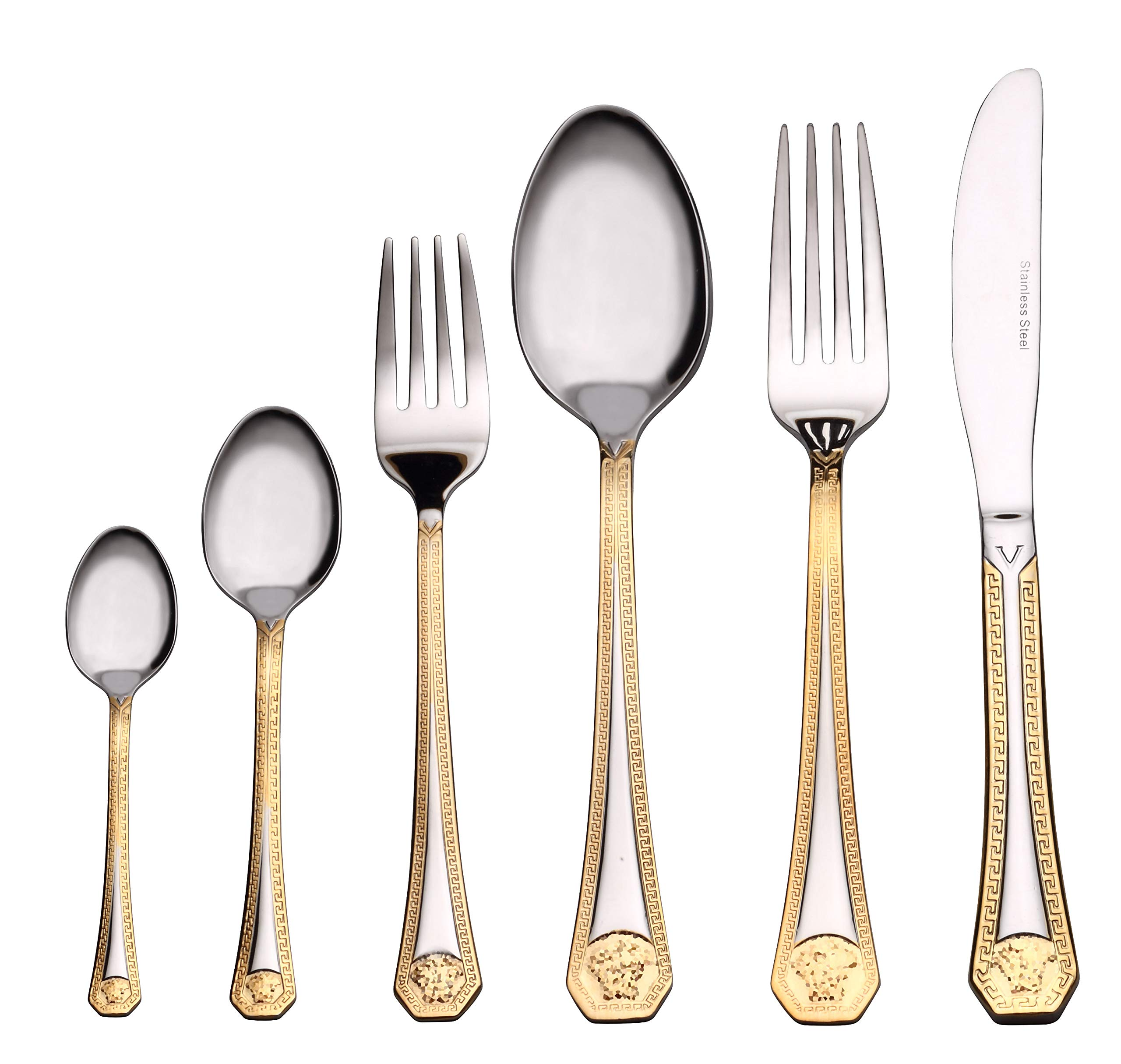 Venezia Collection 'Greek' 75-Piece Fine Flatware Set, Silverware Cutlery Dining Service for 12, Premium 18/10 Surgical Stainless Steel, 24K Gold-Plated Hostess Serving Set