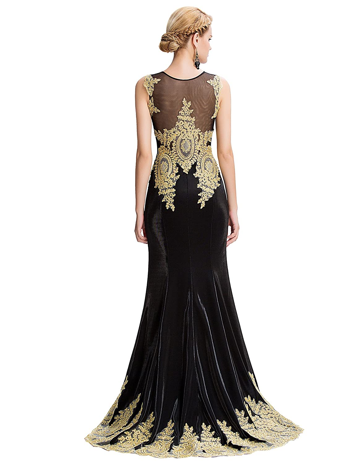 Grace Karin® Womens Sleeveless Mermaid Wedding Dress with Trains Golden Appliques Ball Gown: Amazon.co.uk: Clothing