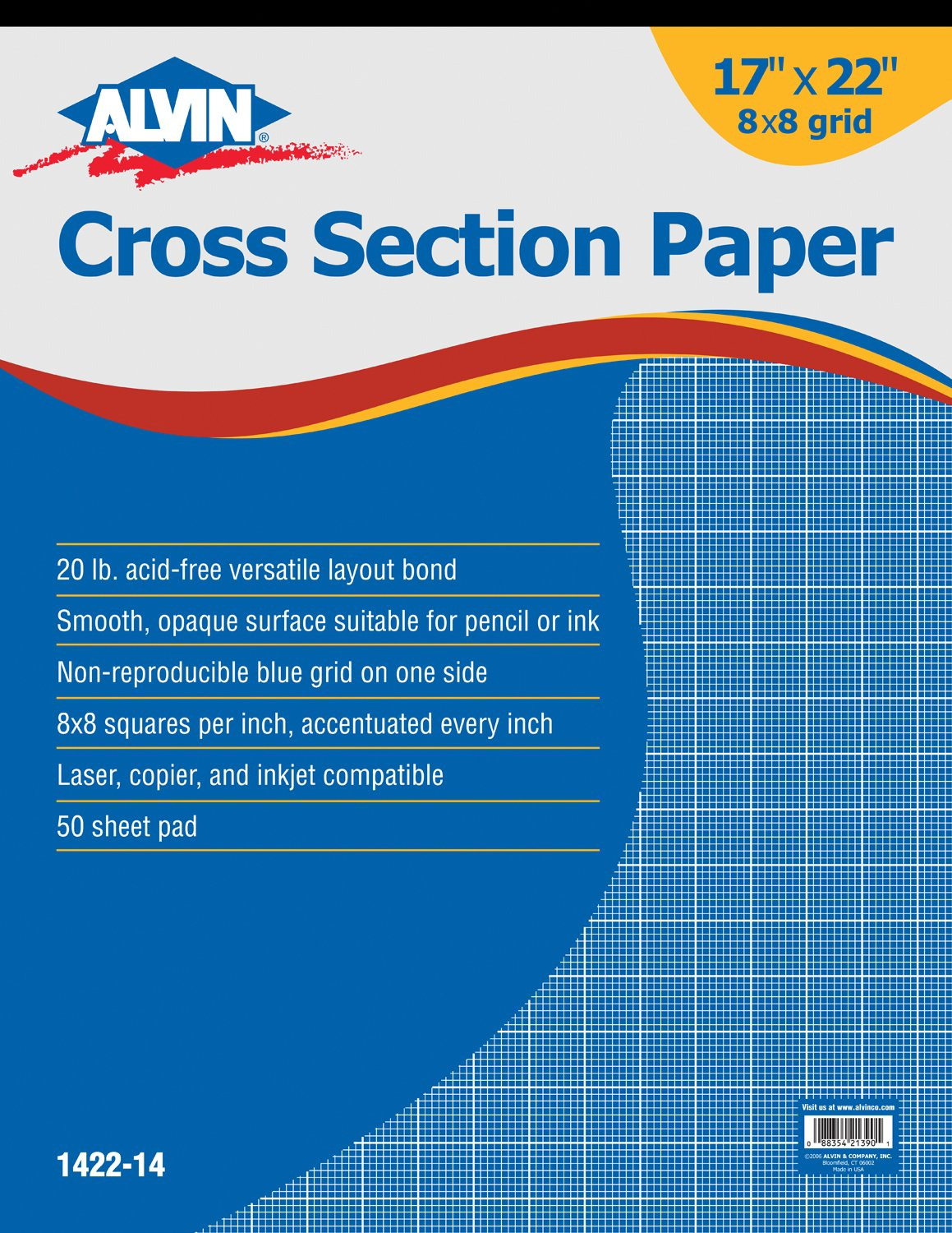 Alvin 1422-14 Cross Section Paper 8 x 8 Grid 50-Sheet Pad 17 inches x 22 inches