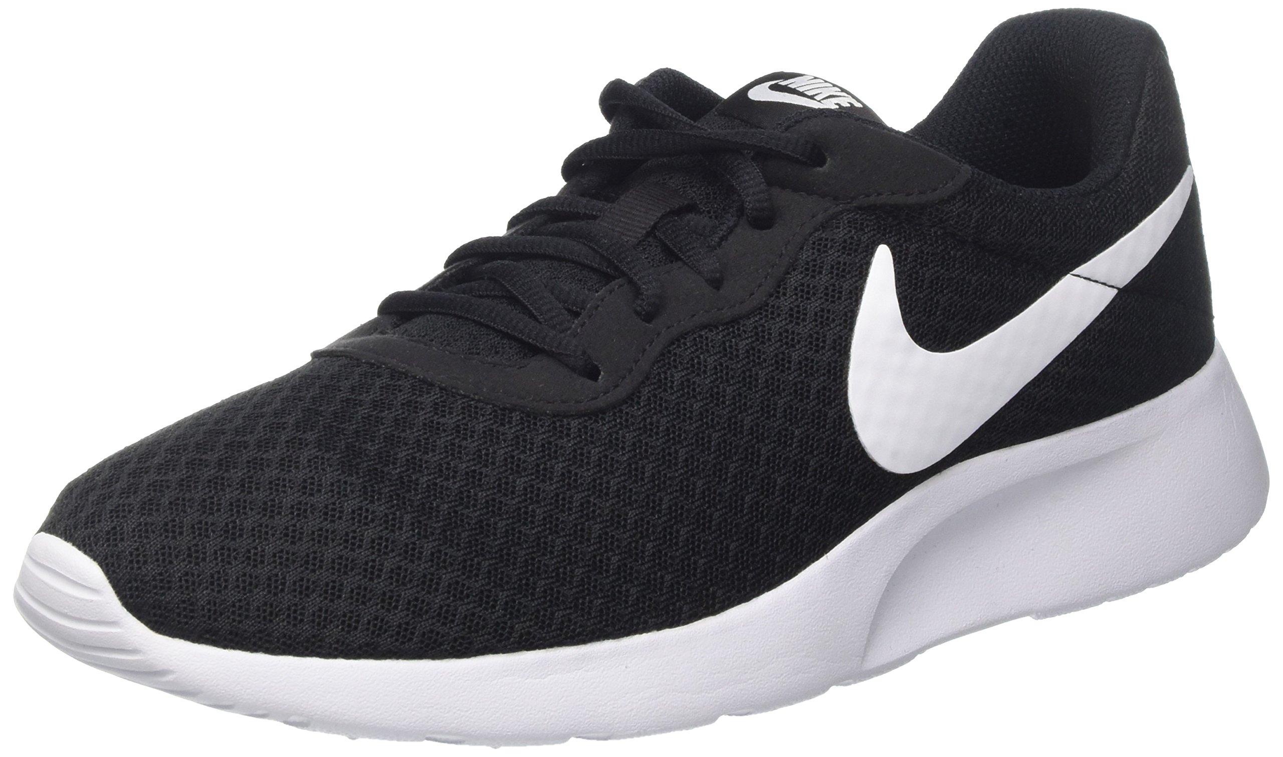 NIKE Womens Tanjun Running Sneaker Black/White (10)