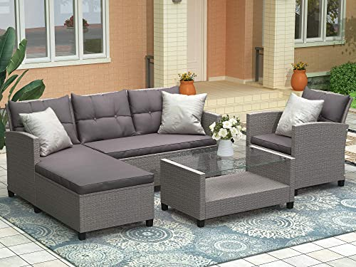 LZ LEISURE ZONE Patio Furniture Set Outdoor Sectional Sofa Set All-Weather PE Rattan Wicker Lawn Conversation Sets 4 Pieces Patio Sofa Set
