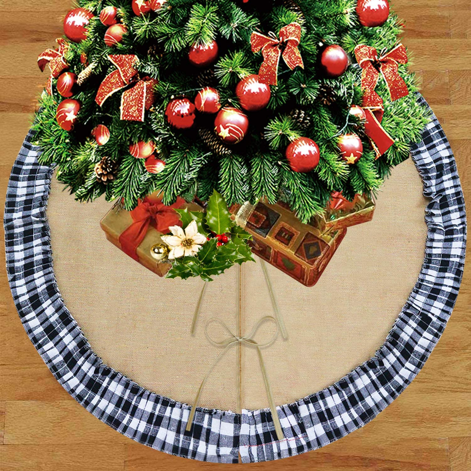Partyprops Christmas Tree Skirt, Large 48 Inch Burlap Tree Skirt with Black White Checkered Ruffle Decors, Buffalo Plaid Tree Skirt for Christmas Decorations, Xmas Holiday Decorations Indoor Outdoor