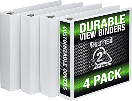 LOT OF 12 NEW 4 INCH BLACK D RING VIEW BINDERS