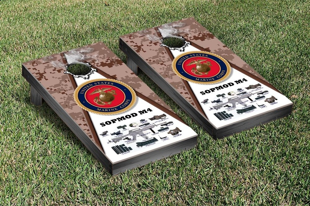 US Marines USMC SOPMOD M4 Desert Camo Regulation Cornhole Game Set