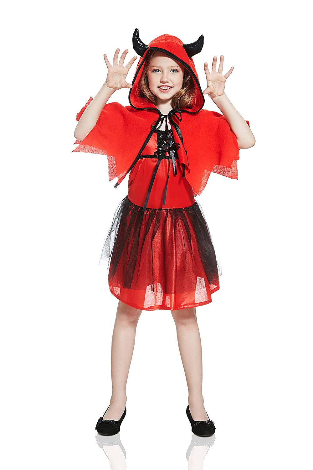 09698522aac Buy Kids Girls Little Devil Costume Shoulder Cape Halloween Party Evil  Demon Dress Up (3-6 years