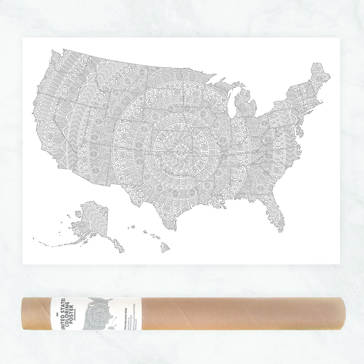 Amazon.com: Very Detailed Mandala US Coloring Map to Color In ...