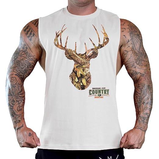 f2f4fd4d678c32 Mossy Oak Camo Deer Head Men s White Gym T-Shirt Tank Top at Amazon ...