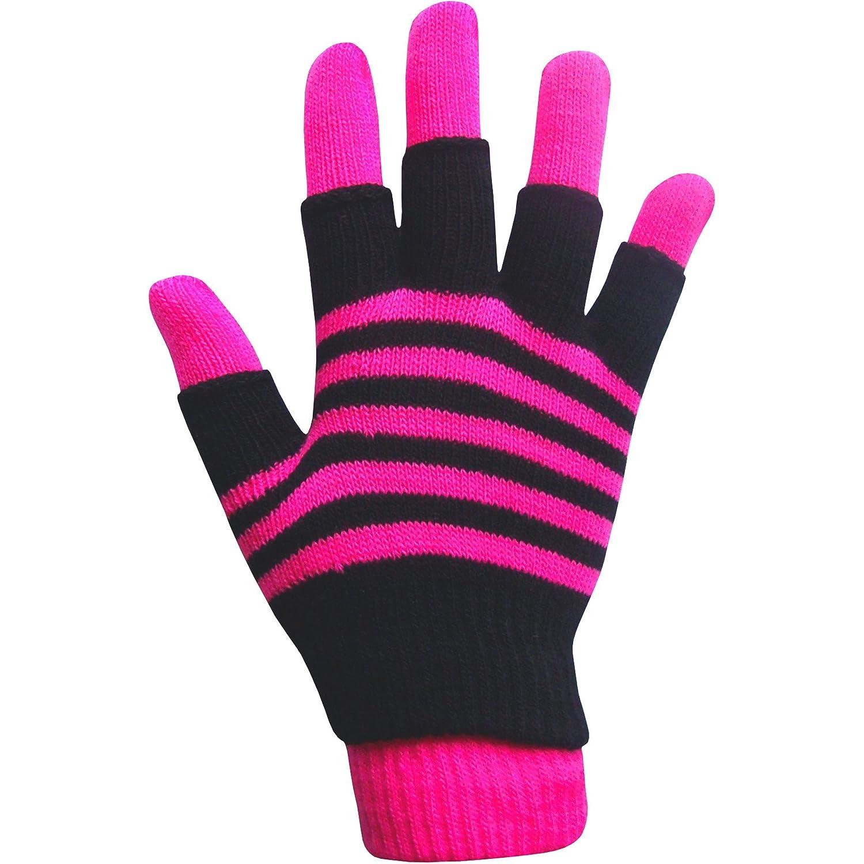 TeddyT's Jungen & Mädchen unisex neon Streifen Magic 2 in 1 Winter Handschuhe mit Fingerlose Handschuhe TeddyT's NeGl003