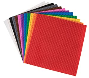 Strictly Briks - Classic Brick Baseplates - 12 Base Plates - 12 Rainbow Colors - Stackable Plates to Create Your Own Table - Compatible with All Major Brands - 10 Inch x 10 Inch - (32 x 32 Pegs)