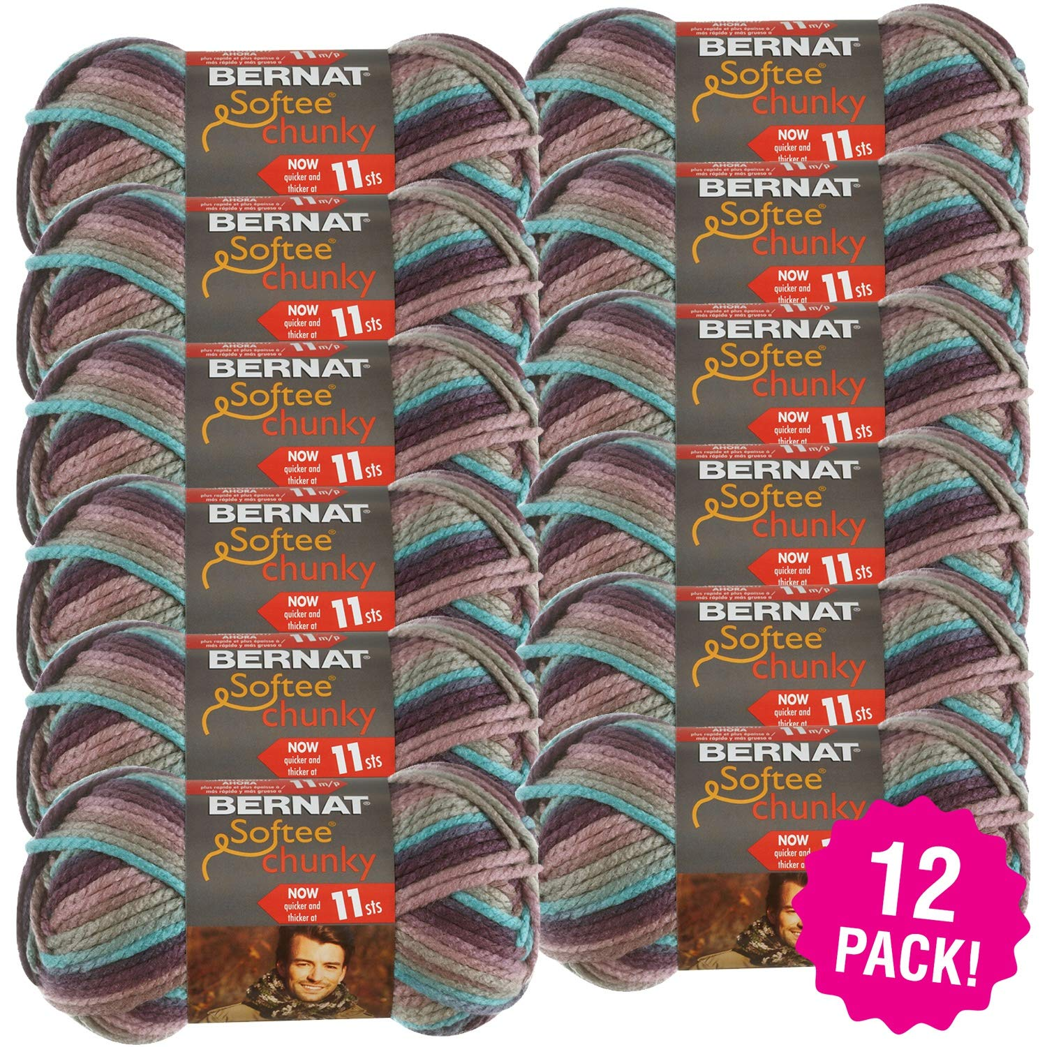 Bernat 97143 Softee Chunky Ombre Yarn-Shadow, Multipack of 12, Pack