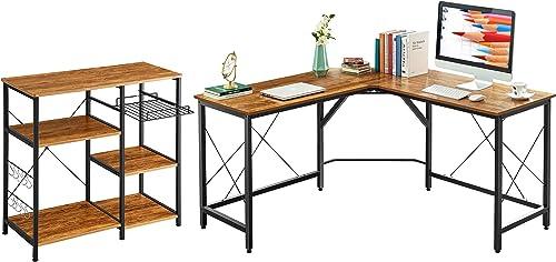 Mr IRONSTONE 59″ L Shaped Desk and 3-Tier 3-Tier Kitchen Baker's Rack Vintage