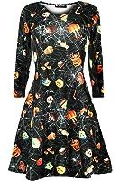 Oops Outlet Women's Halloween Scary Bat Pumpkin Spider Smock Skater Swing Dress