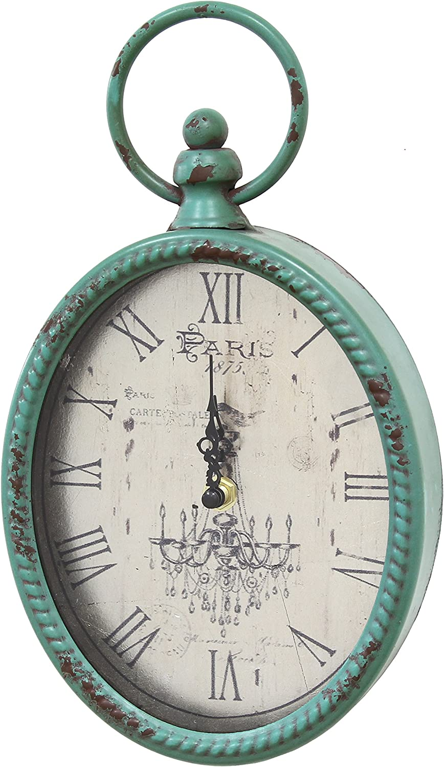 Stratton Home Décor Stratton Home Decor SHD0008 Antique Oval Clock, 6.75 W X 2.00 D X 11.50 H, Teal