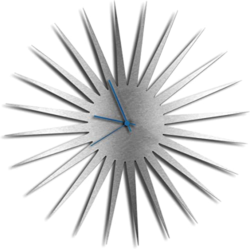 Modern Wall Clock MCM Starburst Clock Silver Blue Mid-Century Home Kitchen Decor – Minimalist, Silent Sweep Hands