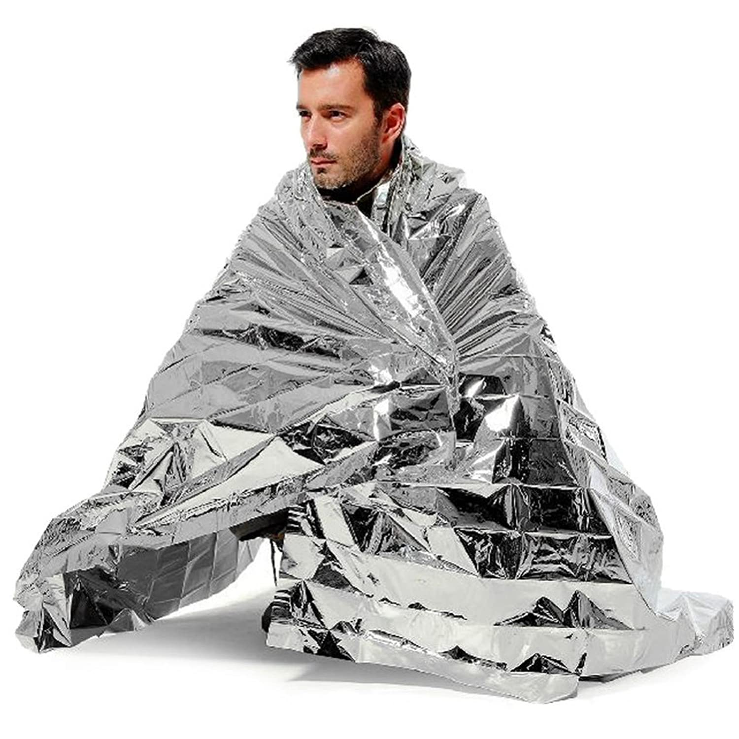 2x Large 2m Emergency Foil Survival Blankets White Hinge