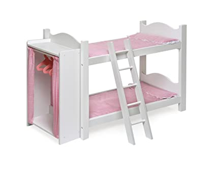 badger basket doll bunk beds with ladder and storage armoire fits american girl dolls - Beds For American Girl Dolls