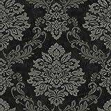 Arthouse Palazzo Damask Pattern Textured Vinyl Glitter Motif Wallpaper (Black 290400ARTHOUSE)