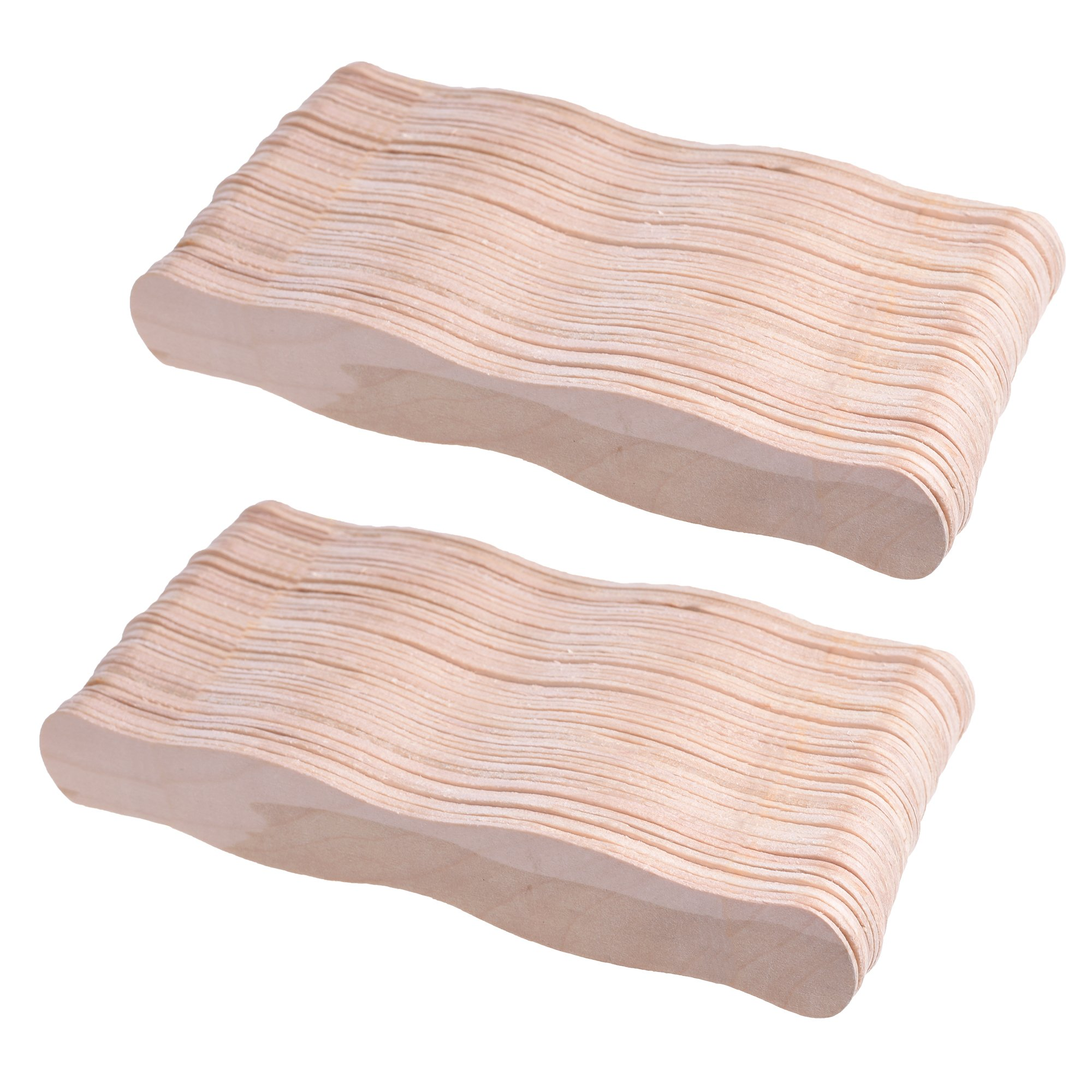 Cosmos 100 Pcs Natural Wavy Jumbo Wood Wedding Fan Handles Craft Sticks 8 inches