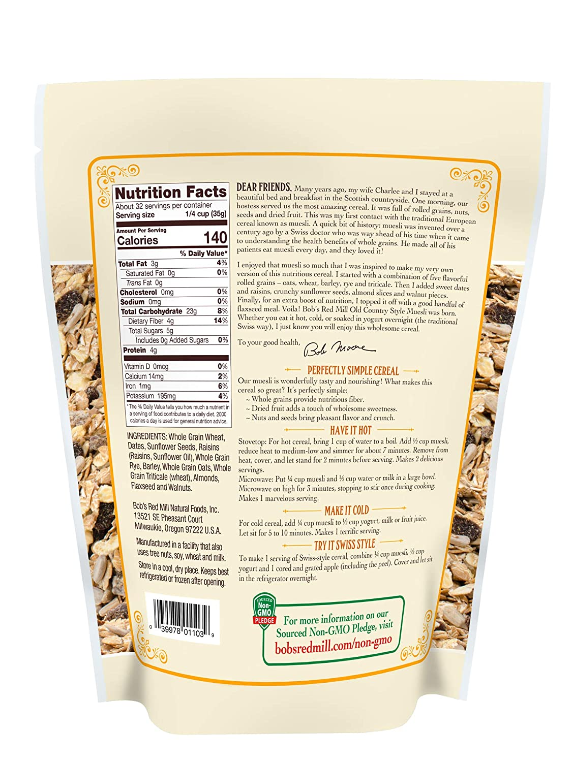 Bobs Red Mill Old Country Style Muesli Cereal: Amazon.com ...