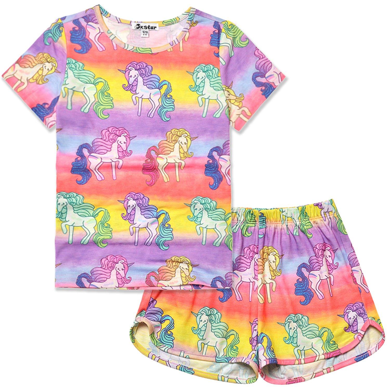 Little Girls Pajamas Set Unicorn Teen Summer American Cotton Short Sleeve Flower