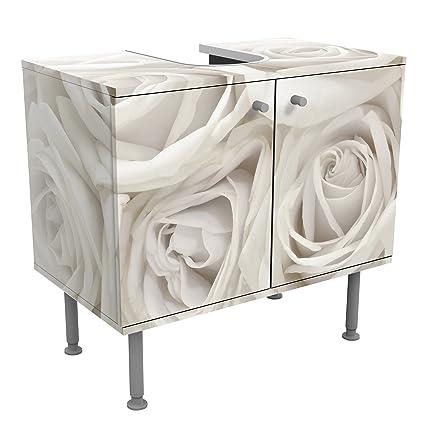 Meuble sous vasque design White Roses 60x55x35cm, petit,60 cm de large,  réglable, table de lavabo, armoire de lavabo, lavabo, meuble bas,  baignoire, ...